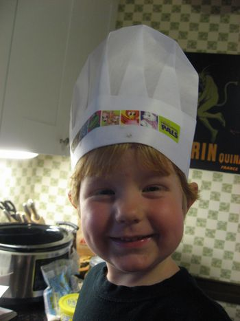 Broccoli and chef hat 018